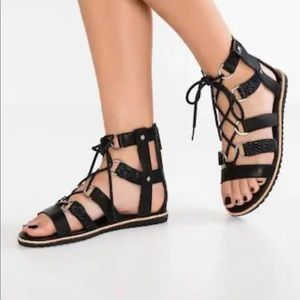 Sorel Black Leather Lace Up Ella Sandals